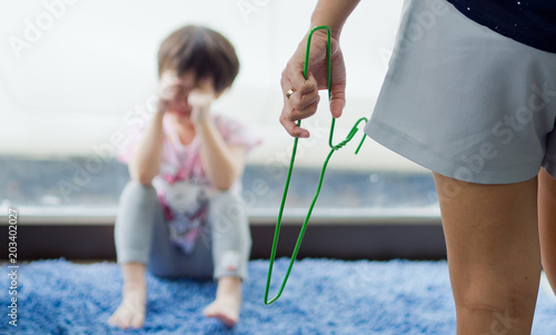 Photo mother hit her kid, children crying, little girl cry, feeling sad, young girl un
