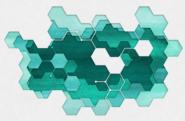 FototapetaAbstract hand drawn illustration. Cutout hexagonal medicine applique from watercolor blue painted paper. Creative background.