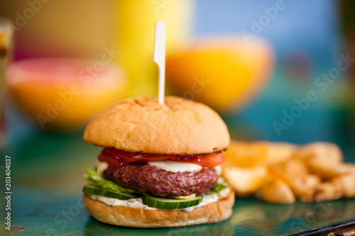 Valokuva  Burger with juicy meat flesh and fresh vegetables on bright colorful background