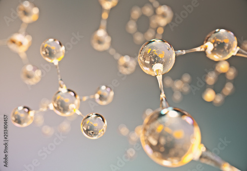 Obraz Abstract gold and orange molecule background,3d rendering. - fototapety do salonu