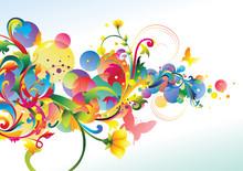 Decorative Colorful Floral Curl