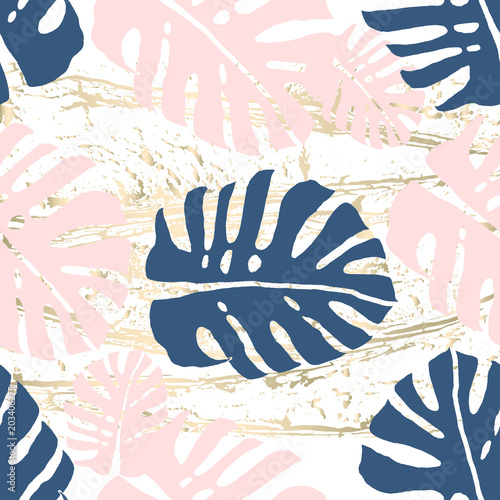 Tropical Worn Floral Pastel Pink Blue Gold Pattern For Wallpaper Textile Flooring Interior
