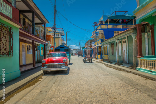 Poster Havana Street in the town of Baracoa, Cuba