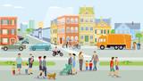 Fototapeta City - Stadt mit Fußgänger und Verkehr, Illustration