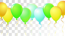 Bright Realistic Helium Vector Balloons Flying. Happy Birthday, New Year Party Ornament. Neon Modern Holidays Decoration, Air Helium Balloons. Celebration, Music Poster Discount Card Cool Design.