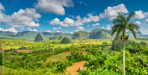 Viñales Valley with the Sierra de los Organos mountains in the background Canvas Print