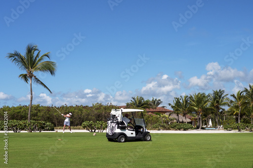 фотографія  Golfcars on the golf course, game, recreation and sports