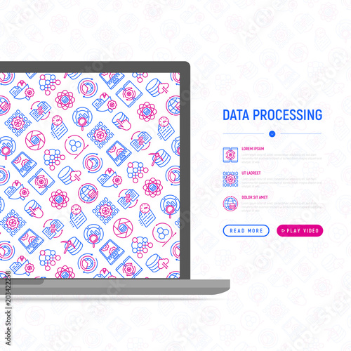 Data processing concept with thin line icons: data science