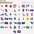 Map with flag of USA states collection.