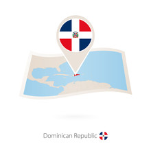 Folded Paper Map Of Dominican ...