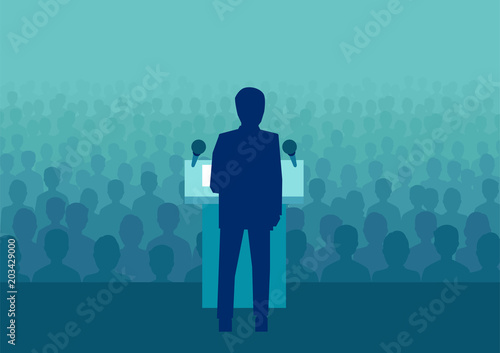 Vector of a businessman or politician speaking to a large crowd of people Fototapete