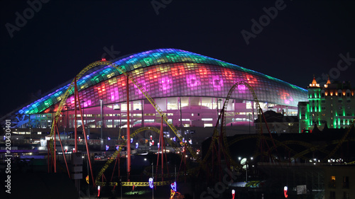 Montage in der Fensternische Stadion Sochi Fisht arena night panoramic 16:9 horizontal