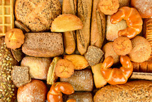 Top View Of Bread. Healthy Food Background.