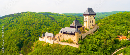 Photo  Aerial view to The Karlstejn castle