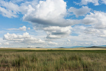 Clouds Over Steppe Grass. Tyva...
