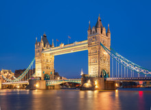 Tower Bridge At Night. London,...