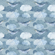 Seamless Pattern With Cute Narwhal