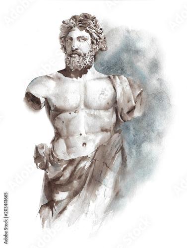 Fotografie, Obraz  Statue ancient Greek Roman sculpture warrior athlete man statue watercolor paint