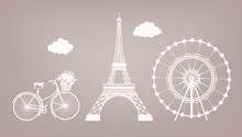 Set, Bicycle, Eiffel Tower, Fe...