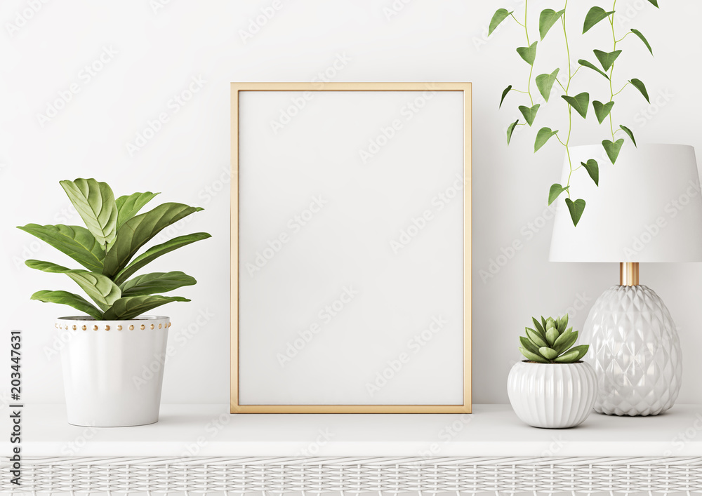 Fototapety, obrazy: Home interior poster mock up with vertical metal frame, plants in pots and lamp on white wall background. 3D rendering.