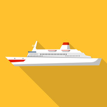 Atlantic Cruise Ship Icon. Fla...