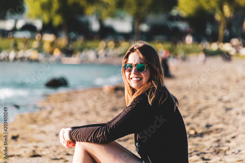 Poster  Girl at English Bay Beach in Vancouver, BC, Canada