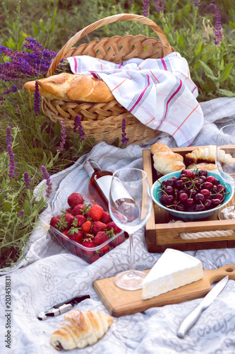 Fotobehang Picknick Picnic in the meadow