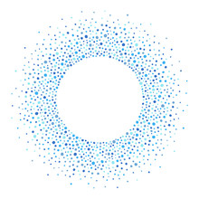 Round Dots Frame With Empty Space For Your Text. Circle Shape. Radial Frame, Border Made Of Blue Uneven Spots, Blobs, Drops, Specks, Flecks Of Various Size. Shades Of Blue Abstract Background.