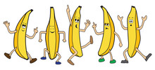 Five Cartoon Bananas Are Danci...