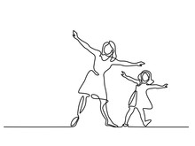 Continuous Line Drawing. Family With Mother And Girl In Fly. Vector Illustration