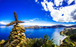 canvas print picture - View on cross on Isla del Sol by Lake Titicaca - Bolivia