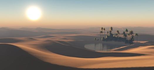 oaza o zachodzie słońca, dłonie nad wodą na pustyni