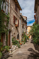Fototapeta na wymiar Alley view with stone houses and plants in the morning sun in Vence, a stunning medieval hamlet completely preserved. Located in the Alpes-Maritimes department, Provence region, southeastern France