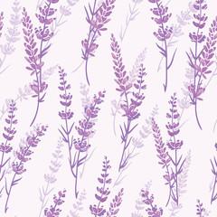 Fototapeta Lawenda Lavender floral purple vector seamless pattern. Beautiful violet lavender retro background. Elegant fabric on light background Surface pattern design.