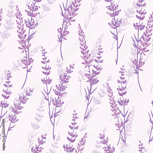 Lavender floral purple vector seamless pattern. Beautiful violet lavender retro background. Elegant fabric on light background Surface pattern design.