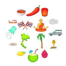 Thailand Symbols Icons Set. Ca...