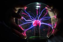 Closeup Of A Plasma Globe In The Darkness