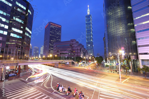 Night scenery of a street corner in Downtown Taipei, the vibrant capital city of Canvas Print