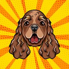 Cocker Spaniel Dog Portrait. Spaniel Breed. Vector.