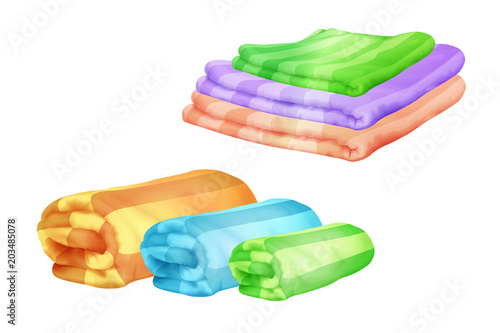 Obraz Vector illustration of color bath towel piles folded and rolled. Realistic soft cotton or wool plaids or bed sheets and beach blankets isolated on white background - fototapety do salonu