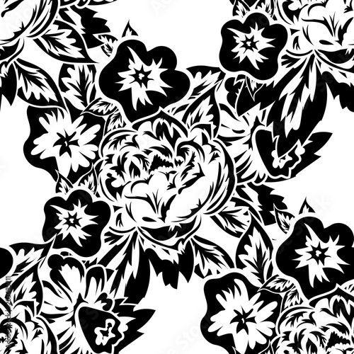 Poster Floral black and white seamless monochrome pattern of flowers for greeting cards, background, price tags