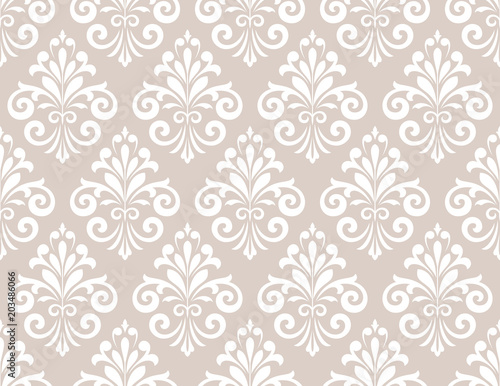 Vintage Wallpaper In The Baroque Style Seamless Vector Background White And