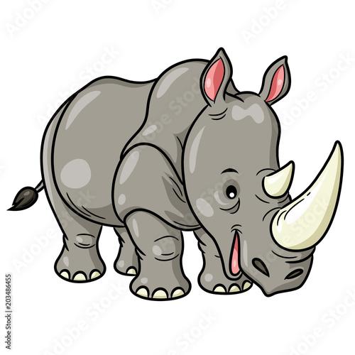 Poster de jardin Zoo Rhino Cute Cartoon Illustration of cute cartoon rhino.