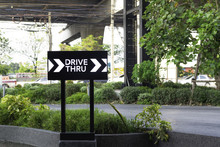 Drive Thru Sign With Road Back...