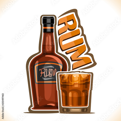 Vector illustration of alcohol drink Rum, old brown bottle of premium cuban booze, full tumbler glass with dark and stormy cocktail, original typeface for word rum, outline composition for bar menu Canvas Print