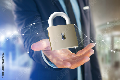 Photographie  Padlock security connection isolated on a color background - 3d rendering