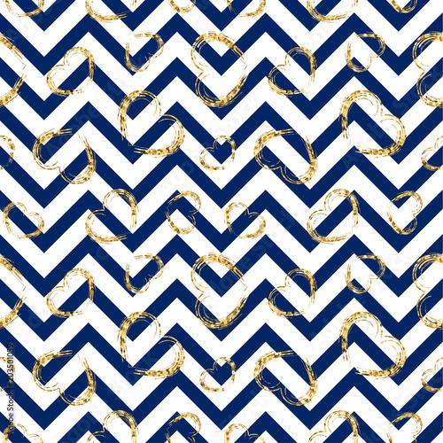 Gold Heart Seamless Pattern Blue White Geometric Zig Zag Golden Grunge Confetti