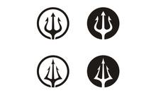 Circular Trident Neptune God Poseidon Triton King Spear Logo Design
