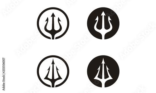 Obraz na plátne Circular Trident Neptune God Poseidon Triton King Spear logo design