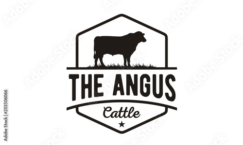 Retro Vintage Cattle Angus Beef Emblem Label Livestock logo design vector Canvas Print